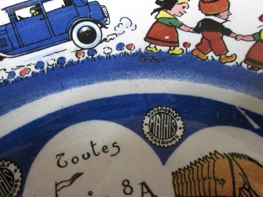 Sarreguemines assiette publicité Mathis rébus signature