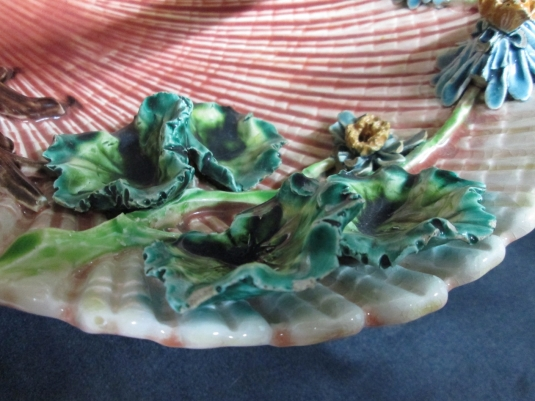Sarreguemines présentoir coquillage majolique
