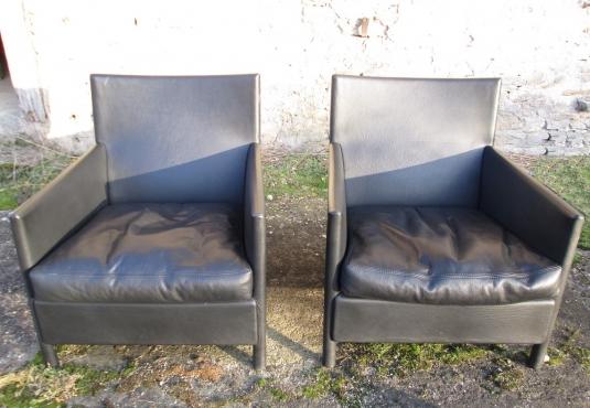 Paire fauteuils design cuir simili-cuir anthracite