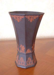 Sarreguemines vase grès fin applications rouges