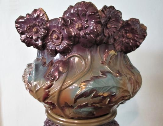 Sarreguemines colonne & cache-pot Kremer Art Nouveau