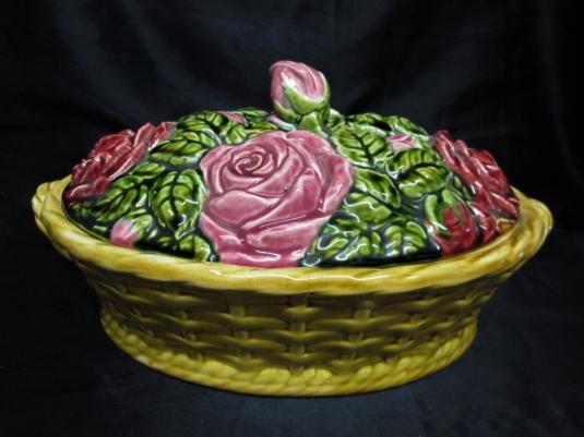 Sarreguemines panier barbotine majolique roses
