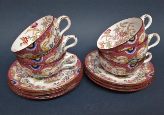 Sarreguemines porcelaine 6 tasses à thé 216