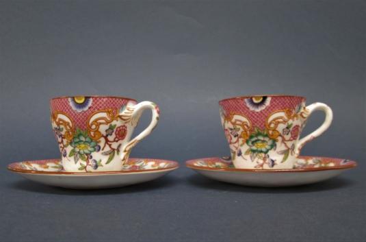 Sarreguemines porcelaine 2 tasses à café décor n° 216