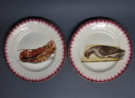 Sarreguemines China assiettes peintes main chasse pêche perdrix langouste